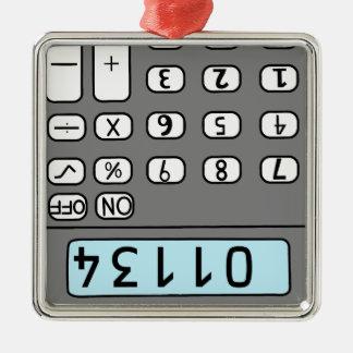 Ornement Carré Argenté bonjour calculatrice