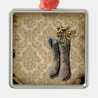 Ornement Carré Argenté Bottes de cowboy de pays occidental de fleur
