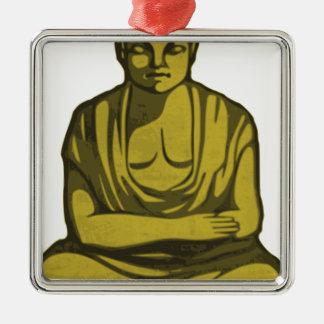 Ornement Carré Argenté Bouddha d'or