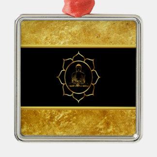 Ornement Carré Argenté Bouddha faisant la feuille d'or de chant religieux