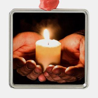 Ornement Carré Argenté Bougie de prière de Noël
