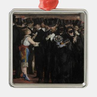 Ornement Carré Argenté Boule masquée de Manet | à l'opéra, 1873