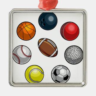 Ornement Carré Argenté Boules de sports réglées
