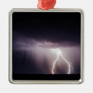 Ornement Carré Argenté Boulon d'éclairage (tempête)