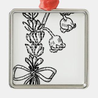 Ornement Carré Argenté Bouquet