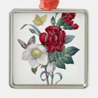 Ornement Carré Argenté bouquet d'anémone et d'oeillets