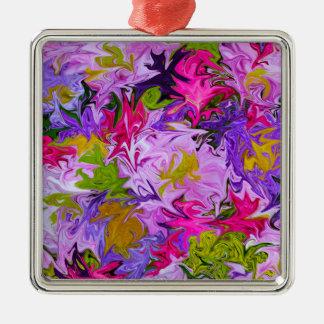 Ornement Carré Argenté Bouquet de conception florale d'art abstrait de