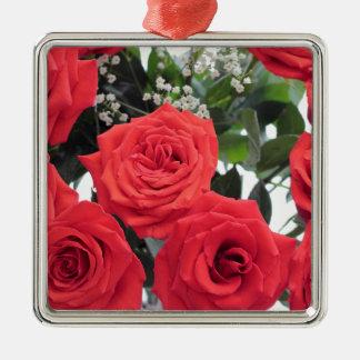 Ornement Carré Argenté Bouquet de roses rouges avec le souffle de Babys