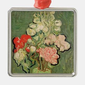 Ornement Carré Argenté Bouquet de Vincent van Gogh | des fleurs, 1890
