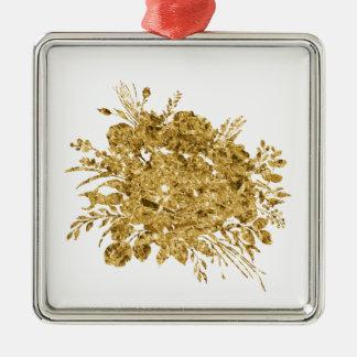 Ornement Carré Argenté Bouquet d'effet de feuille d'or des fleurs