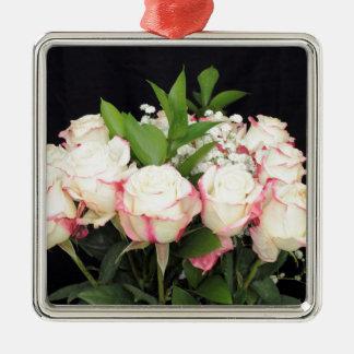 Ornement Carré Argenté Bouquet rose crème de roses