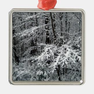 Ornement Carré Argenté Branches d'arbre gelées pour décorer un arbre de