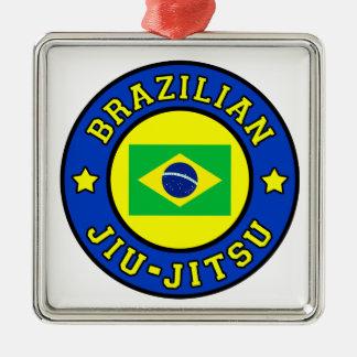 Ornement Carré Argenté Brésilien Jiu Jitsu