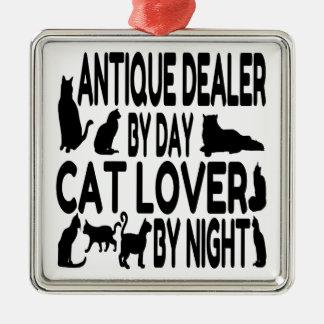 Ornement Carré Argenté Brocanteur d'amoureux des chats
