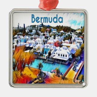 Ornement Carré Argenté Bruit au néon Bermudes 4544