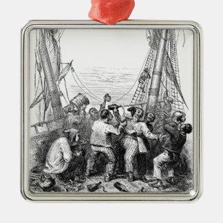 Ornement Carré Argenté Buccaneers vintages et un bateau de pirate