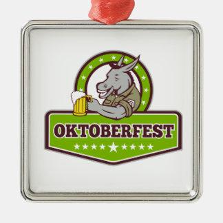 Ornement Carré Argenté Buveur de bière d'âne Oktoberfest rétro