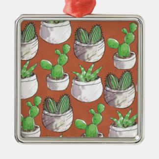 Ornement Carré Argenté cactus