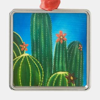 Ornement Carré Argenté Cactus coloré
