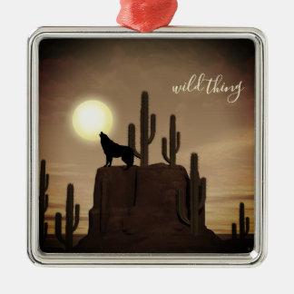 Ornement Carré Argenté cactus sauvage de désert d'hurlement de loup de