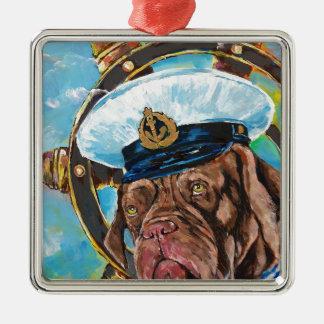 Ornement Carré Argenté Cadeau de //du chien du marin de //de l'année du
