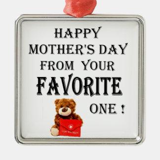 Ornement Carré Argenté Cadeau heureux de jour de mères