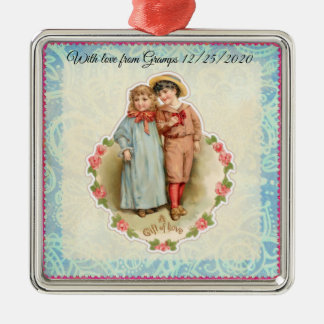 Ornement Carré Argenté Cadeau victorien vintage d'enfants de l'amour