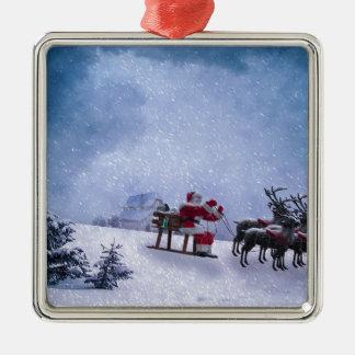 Ornement Carré Argenté Cadeaux de Noël