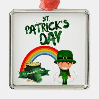 Ornement Carré Argenté Cadeaux du jour de St Patrick