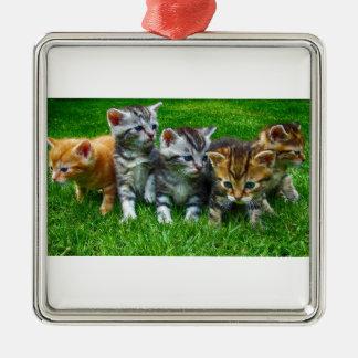 Ornement Carré Argenté Cadeaux mignons de Kitty