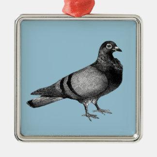 Ornement Carré Argenté Cadeaux vintages de pigeon