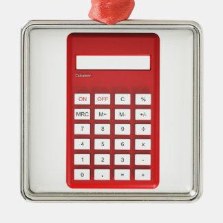 Ornement Carré Argenté Calculatrice rouge de calculatrice