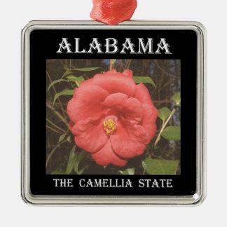 Ornement Carré Argenté Camélia de l'Alabama (rouge)