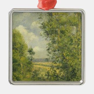 Ornement Carré Argenté Camille Pissarro | un repos dans le pré