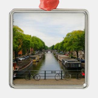 Ornement Carré Argenté Canal, ponts, vélos, bateaux, Amsterdam, Hollande