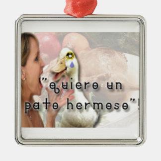 Ornement Carré Argenté Canard