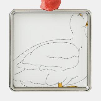 Ornement Carré Argenté canard #3