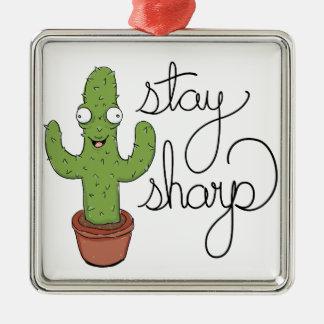 Ornement Carré Argenté Caractère drôle de dièse de séjour de cactus