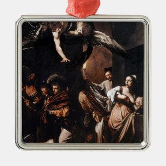 Ornement Carré Argenté Caravaggio - les sept travaux de la peinture de
