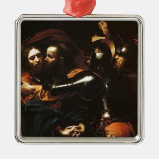 Ornement Carré Argenté Caravaggio - prise du Christ - illustration