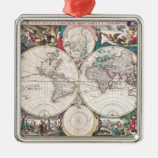 Ornement Carré Argenté Carte antique du monde de Double-Hémisphère