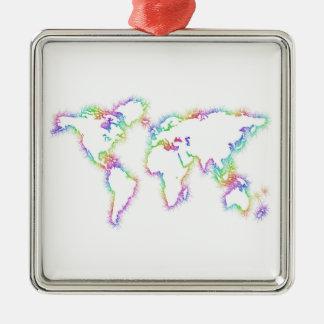 Ornement Carré Argenté Carte colorée du monde
