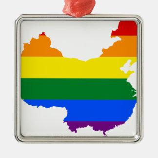 Ornement Carré Argenté Carte de drapeau de la Chine LGBT