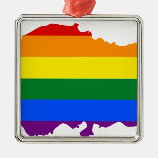 Ornement Carré Argenté Carte de drapeau de la Turquie LGBT