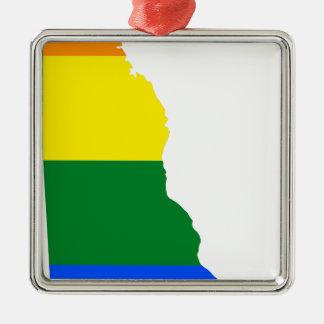 Ornement Carré Argenté Carte de drapeau du Delaware LGBT