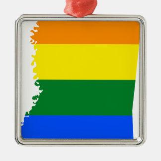 Ornement Carré Argenté Carte de drapeau du Mississippi LGBT