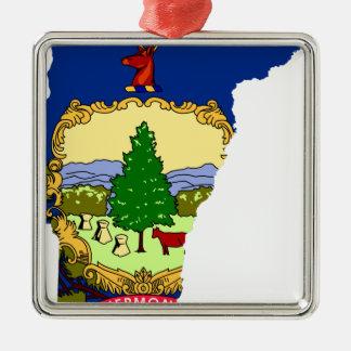 Ornement Carré Argenté Carte de drapeau du Vermont