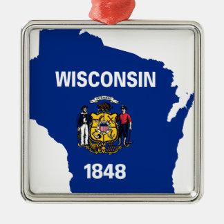 Ornement Carré Argenté Carte de drapeau du Wisconsin