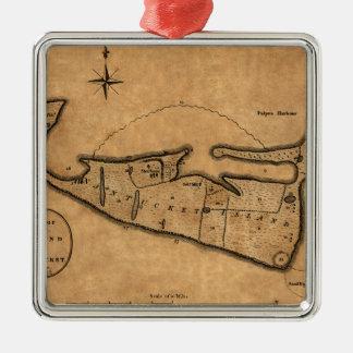 Ornement Carré Argenté Carte de Nantucket 1782