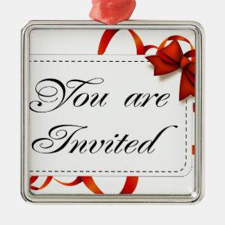 Ornement Carré Argenté Carte d'invitation >> vous êtes invités